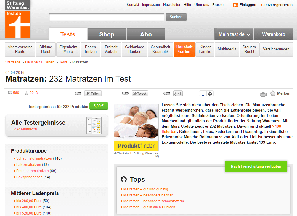 Stiftung Warentest Matratzen Screenshot