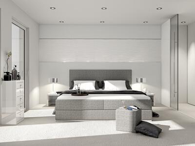 modernes Schlafzimmer mit Boxspringbett